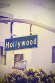 Vintage picture of Hollywood street sign in Hollywood, USA. — Stock Photo