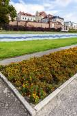 Flowerbed in Torun, Vistula riverside path, Poland. — Stock Photo