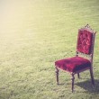 Vintage antique old red chair on green grass, abstract backgroun — Stock Photo #52906133