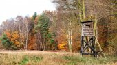 Panoramic view of a hunting pulpit in autumn. — Stock Photo