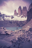 Retro filtered picture of Torres del Paine National Park. — Stock Photo