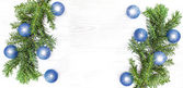 Christmas background, decoration on a white wooden board.  — Stock Photo