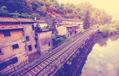 Vintage filtered picture of railroad in Tuscany. — Stock Photo