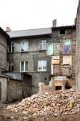 Abandoned, decayed and partly demolished building in Bialogard,  — Stock Photo