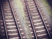Vintage retro filtered picture of railway tracks.  — Stockfoto