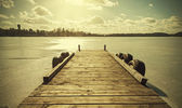 Vintage retro toned image of a pier on frozen lake. — Stock Photo