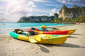 Kayaks on tropical beach, active holidays concept. — Stock Photo