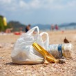 Garbage on a beach, environmental pollution concept picture. — Fotografia Stock  #63156255