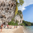 Rock climbers and tourists on Railay beach. — Stock Photo #64535643