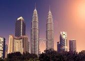 Vintage toned skyline of Kuala Lumpur, Malaysia. — Stock Photo