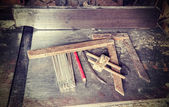 Retro style photo of old carpentry tools. — 图库照片