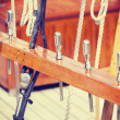 Retro style wooden sailing ship equipment. — Stock Photo #75303831