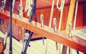 Retro style wooden sailing ship equipment. — 图库照片