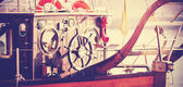 Retro vintage filtered photo of old sailing boat bridge. — Stock Photo