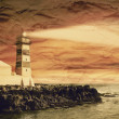 Vintage filtered picture of lighthouse, old paper postcard effec — Stock Photo #77446544