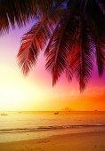 Beautiful sunset over beach, summer holidays background. — Stock Photo
