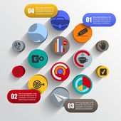 Circles chaotic infographics mobile applications — Stock Vector