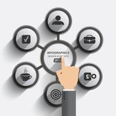 Circular infographics flat design data management — Stock Vector
