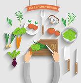 Chef cooking veg food — Stock Vector