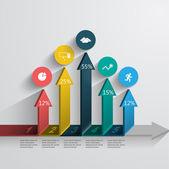 Up arrow with data — Stock Vector