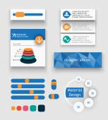 Elements of material design development for mobile — 图库矢量图片