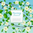 Flowering branches with label for text — Stock Vector #79411090