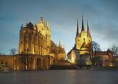 Dom silhouette of Erfurt — Stock Photo