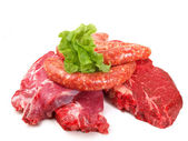 Raw beef isolated on white background — Stock Photo