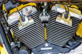 Motorcycle engine close-up detail background — Stock Photo