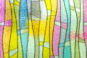 Multicolored stained glass church window portrait orientation — Stock Photo