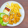 Traditional French potato fries with tomato salad ketchup and ma — Stock Photo #58171361