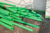 Green color plastic tubes for industry — Stock Photo