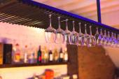 Empty glass on a bar in night club — Stock Photo