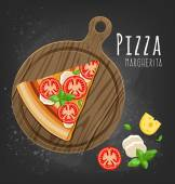 Pizza slice on  board and  ingredients — Stock Vector