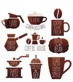 Polygon coffee elements — Stock Vector