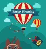 Air balloon and birthday presents — Stock Vector