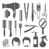 Hairdressing equipment symbols — Stock Vector