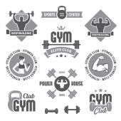 Tek renkli spor salonu etiketleri — Stok Vektör