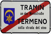 Place name sign of Tramin in South Tyrol — Stock Photo