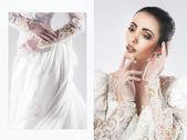 Portrait of the beautiful bride in wedding dress — Photo