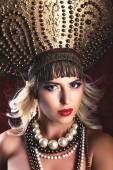 Russian Beauty. Attractive female wearing in kokoshnik. Womans headdress in old Russia — ストック写真