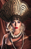 Russian Beauty. Attractive female wearing in kokoshnik. Womans headdress in old Russia — Stock Photo