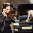 Failure on the road. Woman calls emergency services. — Stock Photo #73195253