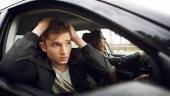 Time before accident, traffic accidents, driving,female driver — Stock Photo