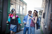 Youth party. stylish people. bright . fun in the company. — Stock Photo