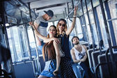 Youth party. fun  company. bright people in the bus, style — Stock Photo