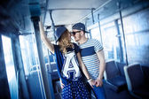 Stylish couple  love in the transport, retro style — Stock Photo