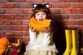 Girl eating a pumpkin — Stock Photo
