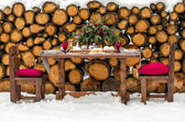 Wedding table. Beautiful winter decorations — Stock Photo