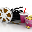 3d illustration of film slate, movie reel, popcorn and cup of cola — Stock Photo #52649789